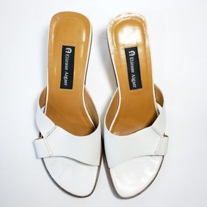 White Leather Slipon Kitten Heels